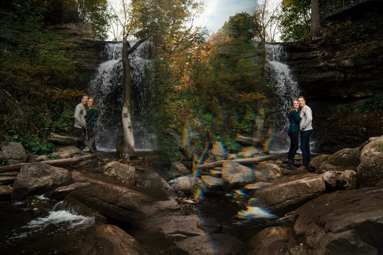 waterfall with reflection engagement